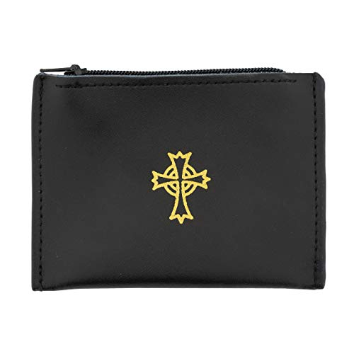 Rosary Pouch | Beautiful Black Color with Gold-Tone Celtic Cross | Great Religious Gift for First Communion and Confirmation | Perfect for Storing Rosaries and Medals