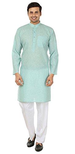 Maple Clothing Traditionelles indisches Ahorn-Pyjama-Kleid aus Baumwolle für Her, mplmkurta-doby-gr-xxxl52, Grün, mplmkurta-doby-gr-xxxl52 XXXL