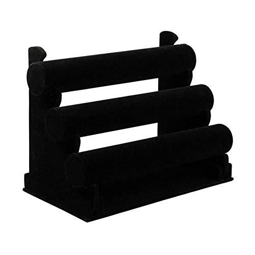 Schmuckständer 3-Tier Black Velvet Abnehmbare Ständer Rack Armbandhalter für Zeige Uhren Bangles & Bracelets