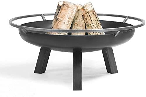 Cookking Porto - Brasero redondo rústico para jardín y terraza con anillo de soporte de acero, negro, 41 x 80 x 80 cm