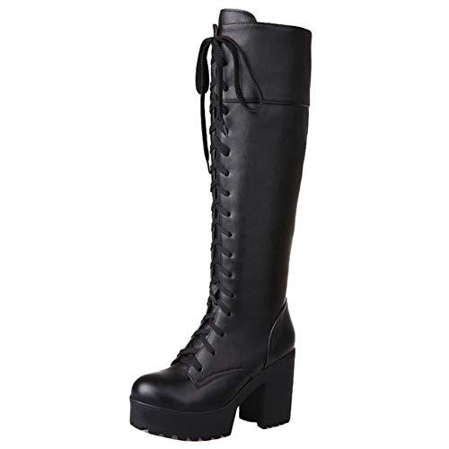 COOLCEPT Damen Schnürstiefel Plattform Stiefel Mittlere Chunky Heel Reitstiefel Autumn Hohe Stiefel (42 EU, Schwarz)