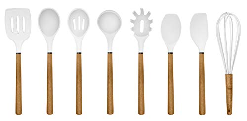 Country Kitchen Silicone Cooking Utensils, 8 Pc Kitchen Utensil Set, Easy to Clean Wooden Kitchen Utensils, Cooking Utensils for Nonstick Cookware, Kitchen Gadgets and Spatula Set - White