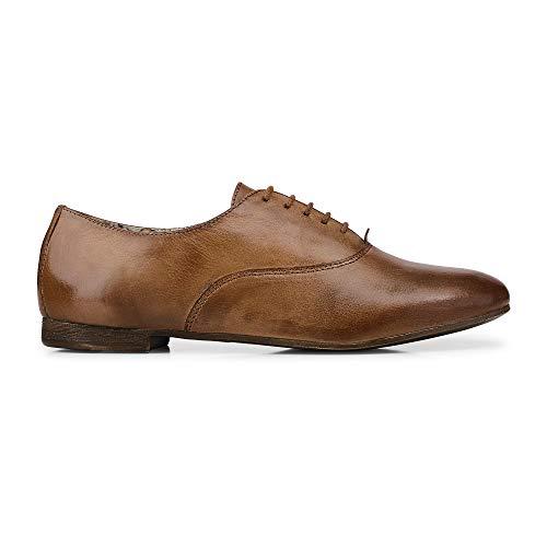 Cox Damen Oxford-Schnürschuh aus Leder, Business-Schuh in Braun, Schuhe mit Blumen-Innenfutter Braun Glattleder 40