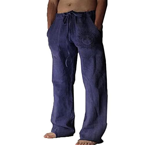 Nuevos Pantalones Casuales Sueltos EláSticos De Color SóLido con CordóN para Hombre