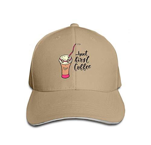Lsjuee Unisex Verano Moda Algodón Gorra de béisbol Sombreros de camionero ajustables Personaje de dibujos animados Taza de café Letras modernas Primer café prin Color arena