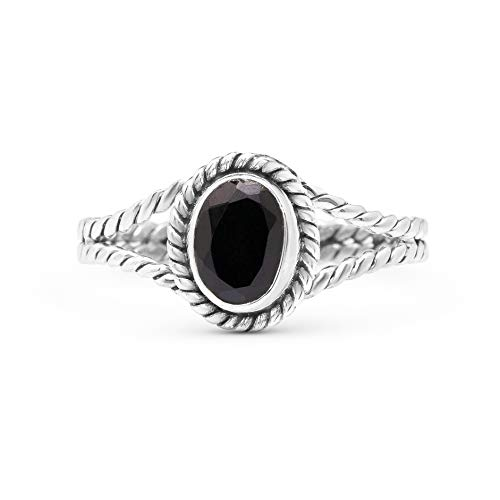 Koral Jewelry Cut Black Onyx Ethnic Vintage Gipsy Delicate Oval Ring 925 Sterling Silver Tribal Boho...