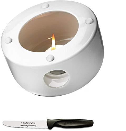 Menu Additions New Norm Stövchen für Kettle Teekanne + Edelstahlstyling Universalmesser Geschenkset