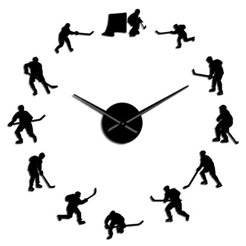 Reloj de Pared Hockey Deporte Colgante de Pared DIY Reloj de Pared Grande Jugadores de Hockey sobre Hielo Silueta Espejo Pegatinas Decoración del hogar Reloj de Pared Regalo para Hombre