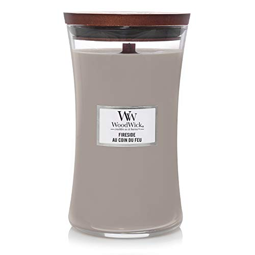 Woodwick Large Hourglass Scented Candle   Fireside   with Crackling Wick   Burn Time: Up to 130 Hours, Fireside