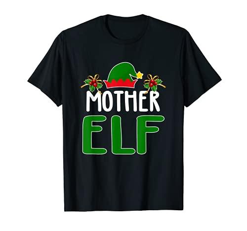 Mamá elfo a juego con disfraz de Navidad para familia de elfos Camiseta