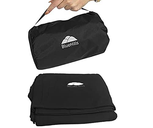 BlueHills Almohada de viaje ultra compacta en bolsa portátil con cinturón de equipaje de mano y clip de mochila Premium Cozy Soft Compact Pack grande manta para avión vuelo Layover negro C003