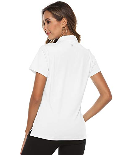 YSENTO Women's Golf Polo Shirt Short Sleeve Polo Shirt Quick-Drying Breathable Sport Tennis Lady-Fit T-Shirts - White - S