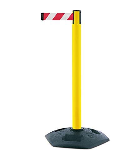 tensabarrier 886m-35-d3schwere Post mit Ein schwarz Gummi Boden Und Rot Gurtband mit einem Anti Tamper Klebeband Ende, 2,3m, gelb
