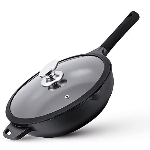 La Moustache - Poêle en Fonte d'aluminium + Couvercle en Verre - Antiadhésif - Équilibre Thermique | Convient à Tous Types de cuisinières (24 cm)