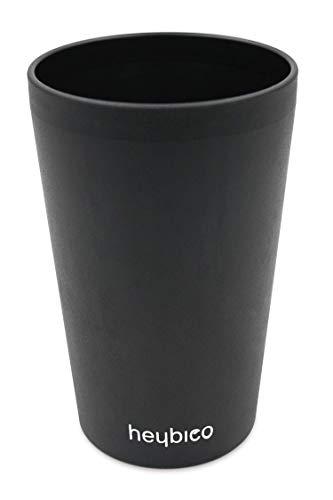 heybico Trink-Becher aus natürlichen Rohstoffen 400 ml, Made in Germany   Frei von Melamin, ohne Bambusfasern   Biologisch abbaubar (1 Becher Schwarz)