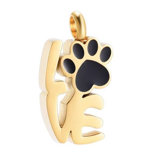 TIANZXS Collar de urna de Pata de Amor para Cenizas - Colgante de cremación de Acero Inoxidable en Memoria del Perro Amado GatoDorado