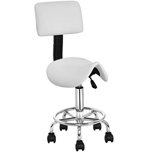 Beauty Salon Stool, Safeplus Rolling Saddle Chair Adjustable Massage Chair, Tattoo Facial Spa with Backrest (Adjustable Hydraulic with Wheel)
