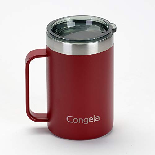 Congela 18oz stainless steel insulated coffee mug with big and ultra thick handle, tea cups with Tritan lid,travel tumbler for camping(Brick red,18oz)
