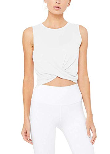 Bestisun Cropped Tank Tops Crop Tops Workout Yoga Shirts Twist Front Tank Athletic Wear Muscle Tank Knot Front Tank Tops for Women White XS