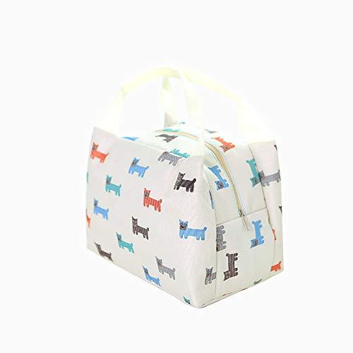 qearly schoen Oxford Fabrics Sac à repas réutilisable Cooler Bag enfants Snack adultes Sac de pique-nique isolée de mort Blanc