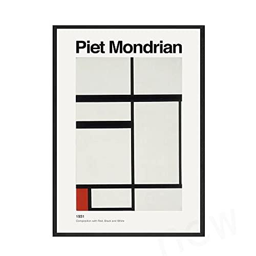 Mondrian composición arte clásico carteles e impresiones rojo negro blanco línea impresión pared moderna hogar sin marco lienzo pintura E 50x70cm