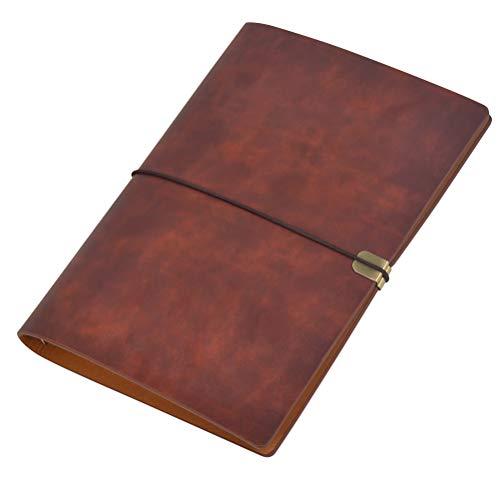 Cuaderno de Cuero A5 PU Suave Cuaderno de Escritura Diario Papel Reemplazable,Classic Retro PU Leather Journal,Personalizado Cuaderno de Viaje,Cumpleaños Regalos,100 Páginas(Rojo Marrón)