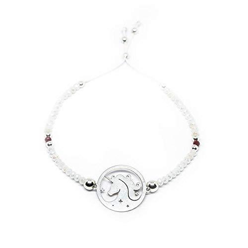 Zilveren eenhoorn-armband, 20 mm, 925 sterling zilver, Swarovski-kristal met schuifknopen.
