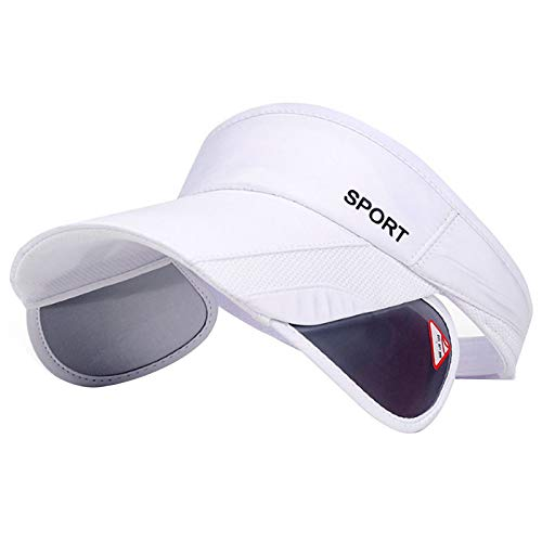 Summer Sun Visor Hat - Women Adjustable Golf Cap with Retractable Brim, UV Protection Beach/Tennis Sport Hat (White)