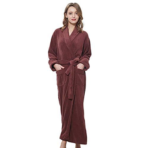 LLSS Albornoz para Mujer Pijamas de Manga Larga con Cuello en V Toallas de algodón Espesado Camisón Camisón Ropa de Dormir Talla Grande Bata de mañana Servicio a domicili