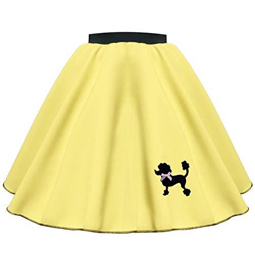 Mums Essentials Rock n Roll Rock für Mädchen, Pudel, Polyester, für Tanzen, 50er-, 60er-Jahre, Theater, Shows, Events Gr. 6-9 Jahre (56 cm Taille), gelb