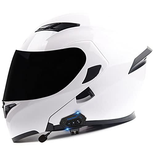 COKECO Casco De Moto Modular Bluetooth Integrado,con Micrófono Antiniebla Doble Parasol ECE/Dot Certificado Casco De Motocicleta para Hombres Y Mujeres Adultos 57~62CM
