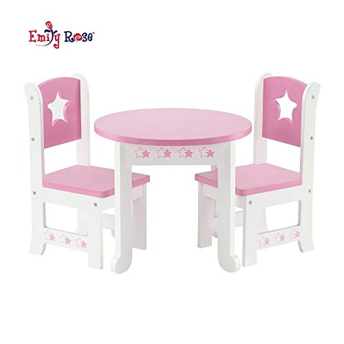 Emily Rose 18 Inch Doll Furniture for Journey Girl Dolls | Doll Table and 2 Chair Dining Kitchen Set | Fits American Girl Dolls (Star Theme)