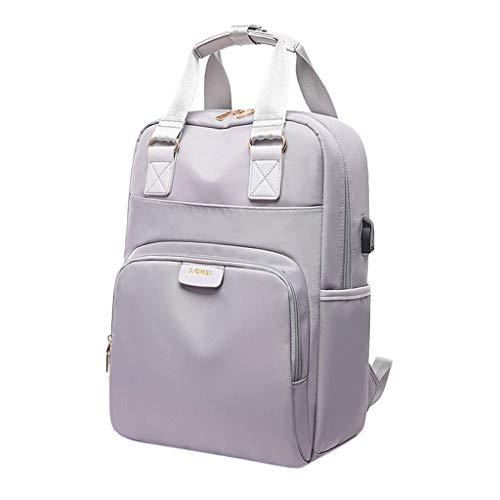 Non-brand Zaino per Laptop da Viaggio Daypack Porta di Ricarica USB ROBUSTE Tasche Multiple - Gray_15.6 Pollici