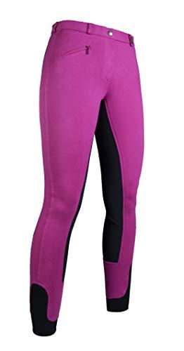 HKM Vollbesatz Reithose Wülfer X mit elastischen Beinabschluss für Kinder, pink mit grauen Besatz, Größe: 158