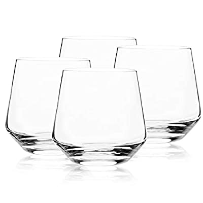 Whiskey Glass Set of 4-14oz, Old Fashioned Glass - Lead Free Hand Blown Rocks Glasses - Amallino