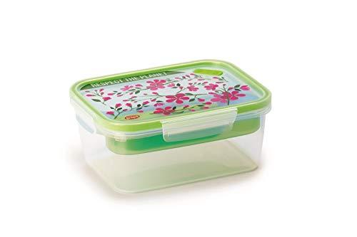 Snips Lunch Box da 1,5 LT Rettangolare Fiori, Trasparente con Decoro
