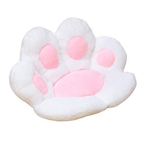 HFDHD Gefüllte Katzenpfoten-Kissen-Sitzkissen, Katzenpfoten-Form Lazy Sofa Bürostuhlkissen, niedliche Cartoon-Sitzkissen-Sitzkissen für das Home Office S White