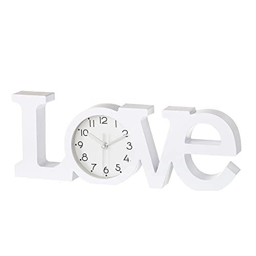 Home Line Reloj Love, Moderno/Original. Ideal para Salón ó Dormitorio. 39 x 3,70 x 14,60 CM.-Hogar y Mas- - Blanco