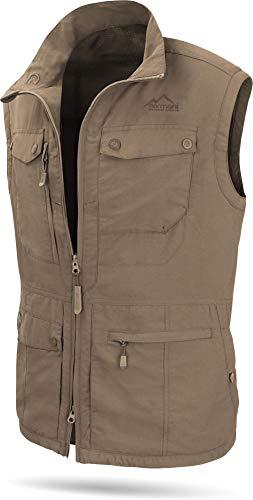 normani Herren Outdoor Weste mit atmungsaktivem Sonnenschutzmaterial 50+ [XS-5XL] Farbe Khaki Größe 5XL