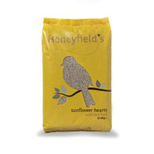 Honeyfields Sunflower Hearts Wild Bird Food 12.6Kg, No Mess, Can Be Fed On Its Own Or Added to Favourite Mixes, for Use in Hanging Feeders, Bird Tables & Ground Feeders