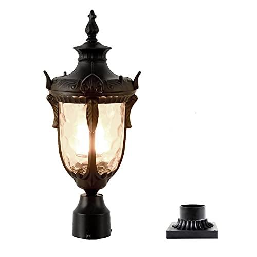 Outdoor Lamp Post Light Fixture Cast Aluminum Exterior Pole Lantern with 3 Inch Pier Mount Adapter for Yard Garden Patio Pathway