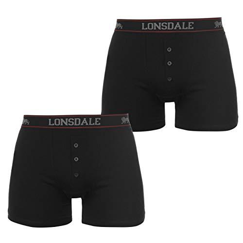 Lonsdale Herren-Boxershorts, elastisch, 2 Stück Gr. XXL, Schwarz