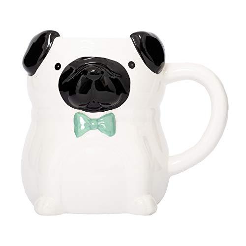 Fluffy Dreams – Die große fantastic Fashion MOPS 3D Hunde Tasse Becher Mug aus Keramik in weiß-mintgrün | handbemalt für Hunde Liebhaber | fasst ca. 400 ml Kaffee, Tee, Getränke