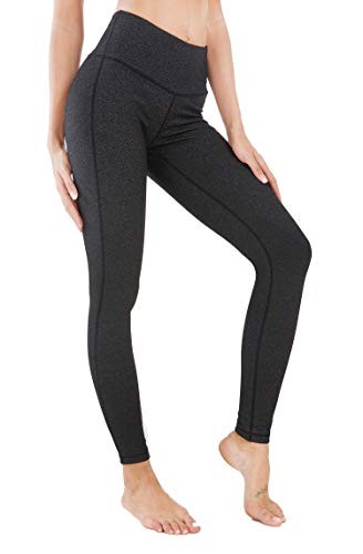 QUEENIEKE Yoga Leggings mit Tasche Klassische Bauchkontrolle Mittlere Taille Laufhose Workout Sporthose für Damen Farbe Holzkohle Schwarze Space Dye Größe L(12