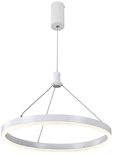 Beautiful Home Decoration lampen Moderne witte ring hanglamp LED ronde hanglamp eettafel woonkamer slaapkamer plafondhanglamp 3000 K warm licht, 22 W, diameter 40 cm, in hoogte verstelbare 150 cm
