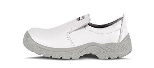 Work Team Zapato de Microfibra sin Cordones, Especial alimentación. Puntera de Acero Anti Impactos. Hombre Blanco 40