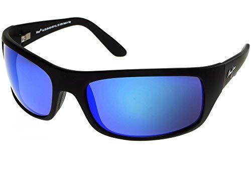 Maui Jim – Gafas de sol polarizadas PEAHI negro brillante/Blue Hawaii para hombre índice 3 Polaris 2 rama Flex