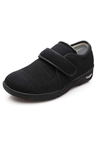 DENACARE Women's Wide Width Shoes with Adjustable Closure Lightweight for Diabetic Edema Plantar Fasciitis Bunions Arthritis Swollen Feet-SW3 Black