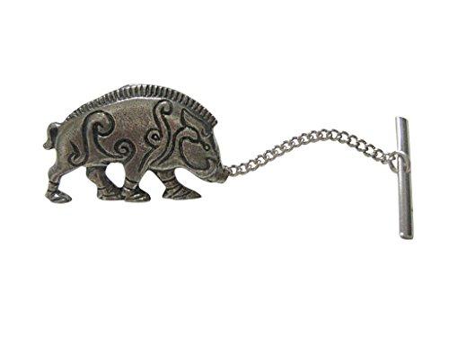 Kiola Designs Silver Toned Textured Celtic Boar Tie Tack