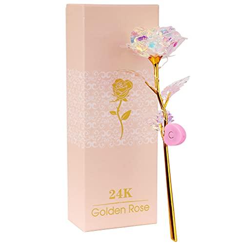 EisEyen 24K Galaxy Rose mit/ohne Licht Geschenk zum Valentinstag Jubiläum Geburtstag Hochzeit (Ohne Licher. pink)